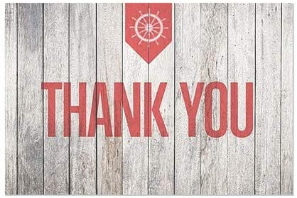 Thank You Nautical Wood Window Cling 36x24 CGSignLab