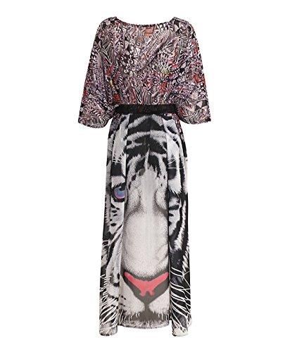 Casual Playa Kimono Asimétrica Cover Mujer Verano Bikini Up Playa Cardigan Estampado Irregular Animales Gasa Anchas Para Murciélago Elegantes De Largo Ropa Moda De Manga Hippies 5q4xw11U