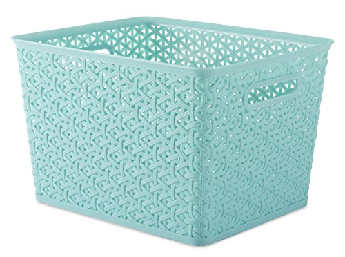 Whitmor Resin Form Tote Large, Turquoise (Bin Weave Storage)