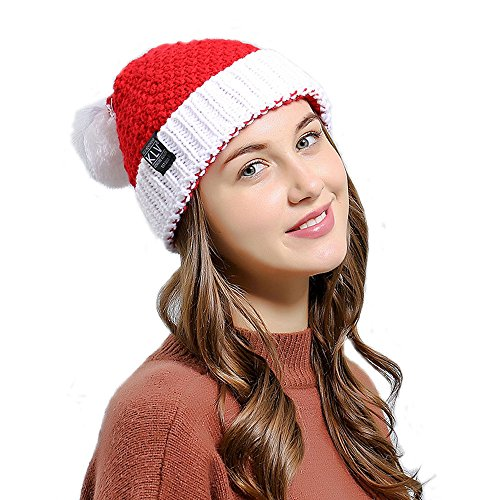 King Star Women Christmas Winter Knitted Crochet Beanie Santa Hat Red