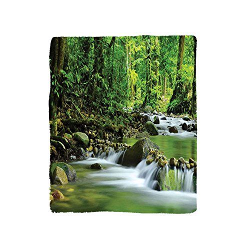 et Rainforest Mountain Stream In A Tropical Rain Forest Foliage Countryside Wilderness Scene Bedroom Living Room Dorm Green Brown (Monthly Side Desk Pad)