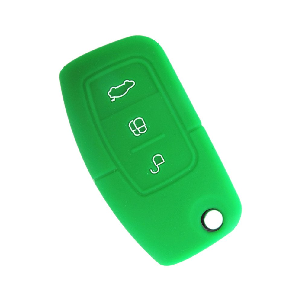 Happyit Silicone Car Key Remote Cover Case fit for Ford Fiesta Focus 2 Ecosport Kuga Escape MK2 3 Buttons Flip Key Black