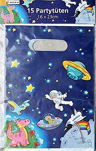 15 Partytüten HEKU Partybag 16x23cm Serie Astro-Dinos