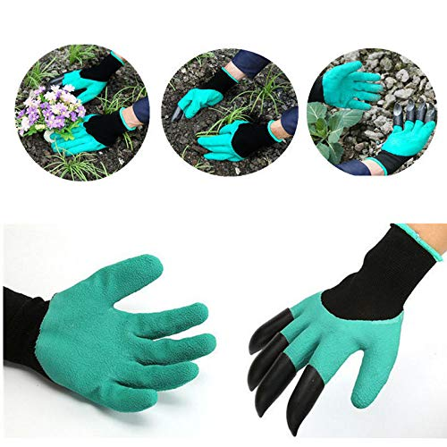 MiLanNuo 1 Pair Reusable Garden Gloves for Digging & Planting with 4 ABS Plastic Claws by MiLanNuo