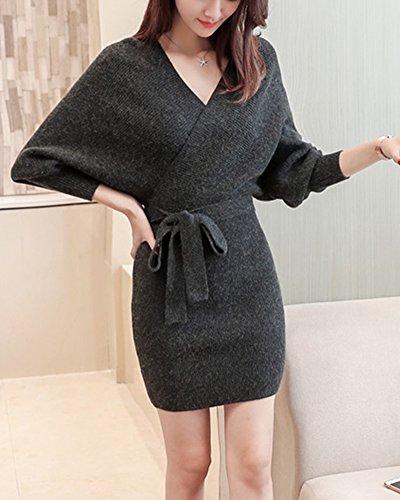 Fonc Longues Top Casual Gris Haut Manches Tee Mode Femme Shirt Hiver Coton Lache Tricot Pull 4Uxa6q0