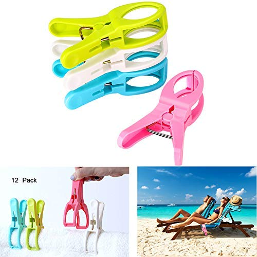 Eokeanon 12 Pack Fashion Color Beach Towel Clips Chair Clips Towel Holder for Beach Chair or Pool Loungers on Your Cruise, Jumbo Size, Keep Your Towel from Blowing Away [並行輸入品] B07RGFK8DW