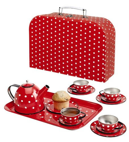 Polka Dot Miniature Tin Tea Set, 15 Pieces