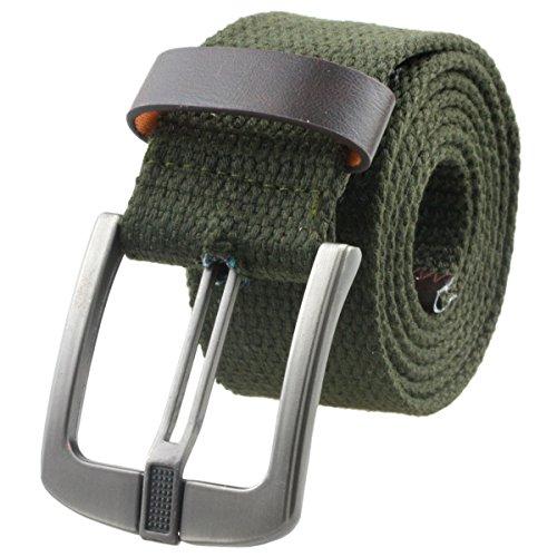 Samtree Canvas Web Belts for Women Men,Adjustable Multi-color Hole Buckle Belt (Army Green)