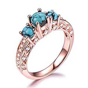 Amazon Com 925 Sterling Silver Black Blue Turquoise Engagement Ring