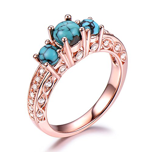 925 Sterling Silver Black Blue Turquoise Engagement Ring Rose Gold Plated CZ Diamond Art Deco Vintage by Milejewel Turquoise engagement rings