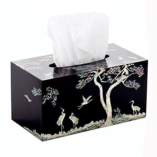 Mother of Pearl Inlay Crane Pine Tree Design Black Handmade Lacquer Wooden Rectangular Decorative Kleenex Boutique Facial Tissue Box Cover Dispenser Holder -