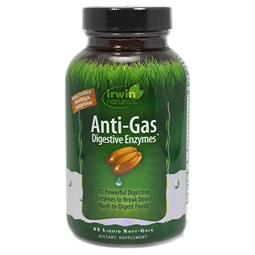 Anti-Gas Digestive Enzymes by Irwin Naturals, Break Down Hard-to-Digest Food & Reduce Indigestion, 45 Liquid Softgels