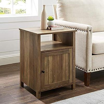 "WE Furniture, Side Table, Reclaimed Barnwood - Dimensions: 24"" H x 18"" L x 15.75"" Open shelf: 6"" H x 15"" L x 18"" W - Cabinet: 14"" H x 15"" L x 18"" W Adjustable soft close door hinges - living-room-furniture, living-room, end-tables - 51W4uR65SHL. SS400  -"