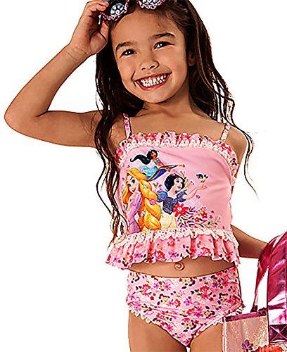 81bdf8e2f6 Disney Store Little Girls' Disney Princesses Glitter Accents Deluxe Swimsuit