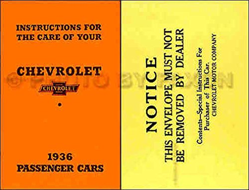 1936 CHEVROLET FACTORY OWNERS INSTRUCTION & OPERATING MANUAL WITH ENVELOPE - USERS GUIDE - INCLUDES; New Standard Series FC & Master DeLuxe Series FD & FA with knee action suspension including Sedan Delivery & Coupe Delivery. 36