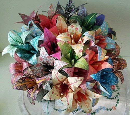 Paper Wedding Flowers Lily Origami Colour Burst Wedding Bouquet