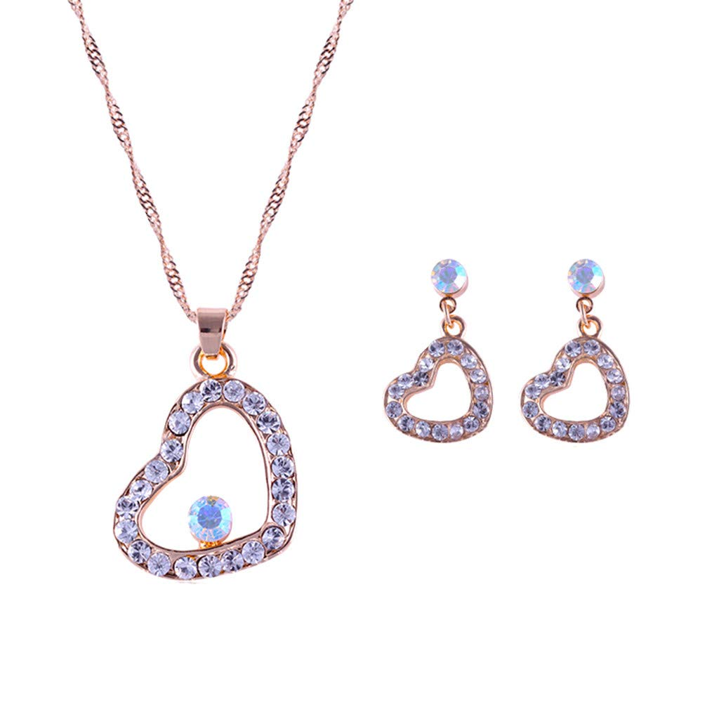 uaswguDFS Rhinestone Gemstone Jewelry- Fashion Trend 2 Piece Love Necklace Earrings Combination is Easy to Match (Gold)