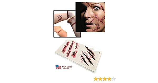 Amazon.com : Halloween Zombie Scars Tattoos Fake Scab Blood Frankenstein Costume Makeup FAST US SHIP : Beauty