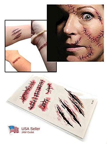 [Halloween Zombie Scars Tattoos Fake Scab Blood Frankenstein Costume Makeup FAST US SHIP] (Zombie Halloween Costume Makeup)