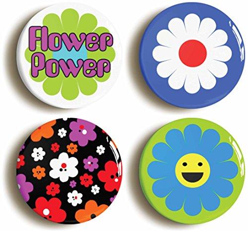 Flower Power Hippie Button Pin Set (Size is 1inch Diameter) Sixties Retro 1960s ()