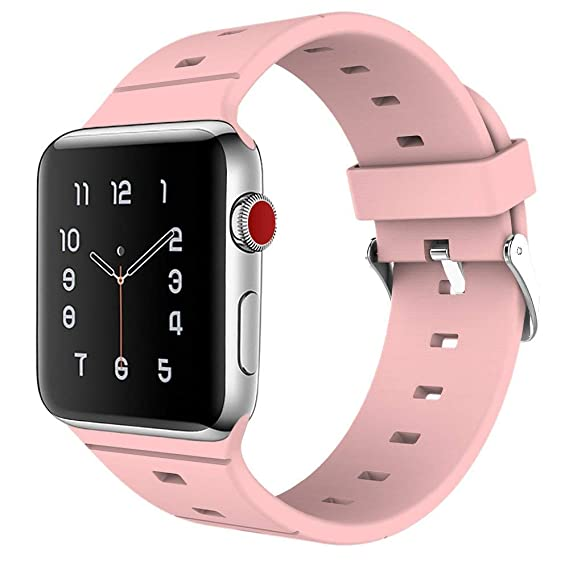 EMPEE Apple Watch Band 38mm Pink - Silicone Sport iWatch Band with Secure  Metal Clasp Buckle for Apple Watch Series 3 Series 2 Series 1 Nike+ Sport  ...