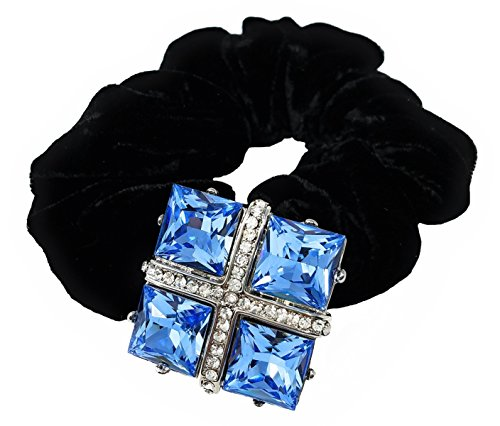Crystal Hair Scrunchie, Brooch Pin or Pendant - Blue Square (H461)