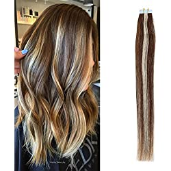 TheFashionWay 16-24 Inches Real Human Hair Extensions Tape in Silky Straight Weft Remy Virgin Hair Various Colors For Choosing (18 inches, #2-613 highlight)