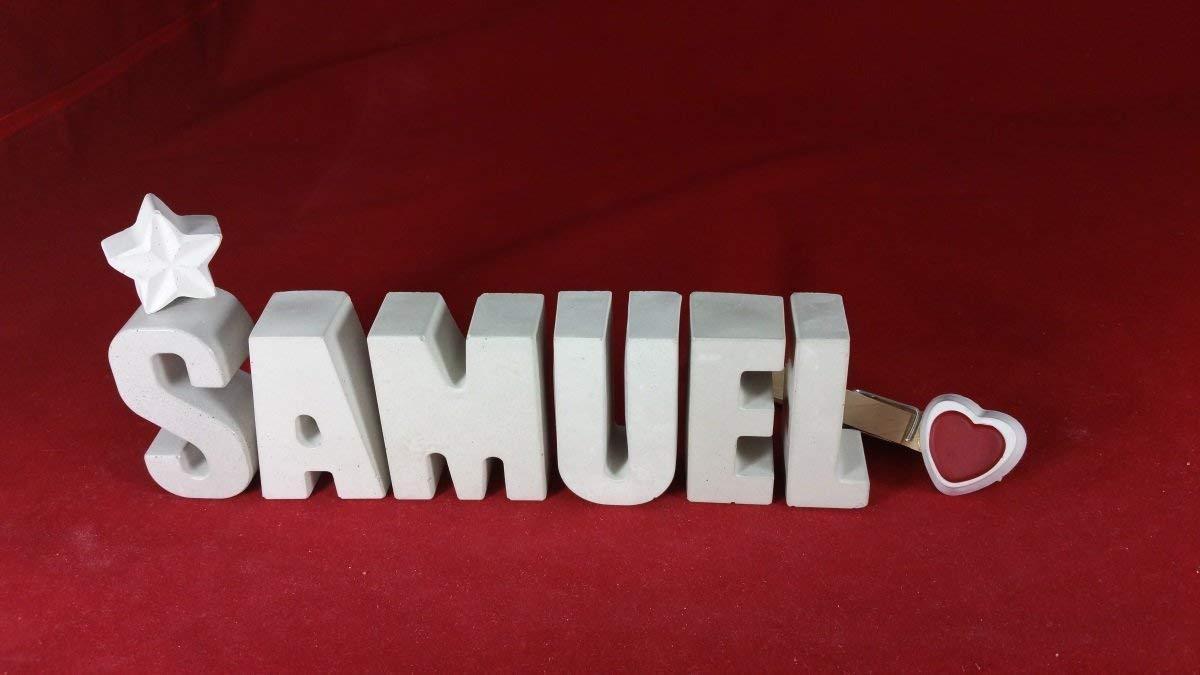 Beton, Steinguss Buchstaben 3D Deko Namen SAMUEL mit Stern und Herzklammer als Geschenk verpackt! Ein ausgefallenes Geschenk zur Geburt, Taufe, Geburtstag, Namenstag oder auch zu anderen Anlä ssen.