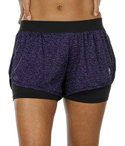 icyzone Running Yoga Shorts for Women - Activewear Workout Exercise Athletic Jogging Shorts 2-in-1 (Purple, L)