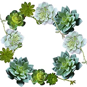 12 Pack Realistic Artificial Succulents Picks - No Flocking - for Eucalyptus Foliage Garlands, Wedding Cakes and Tablescapes, Floral Bouquets and Centerpieces, 9