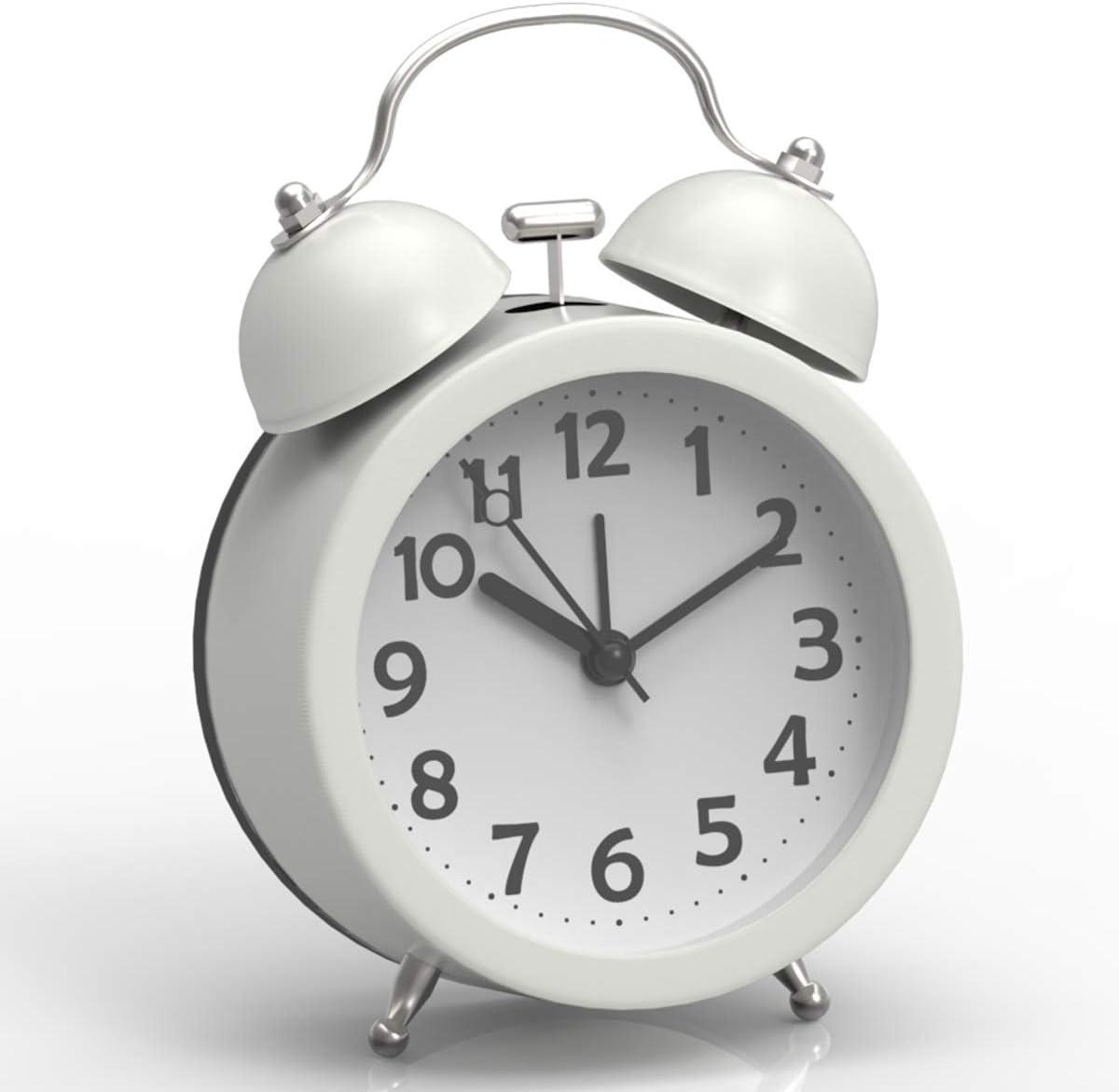 ベル音アラーム ライト付き目覚まし時計(白)マカロン色クロック ホワイト… …