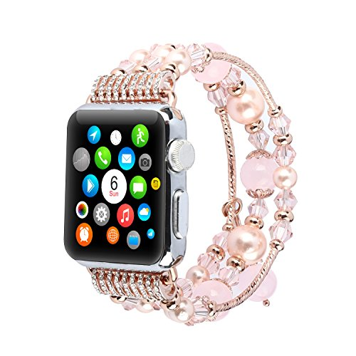SD Trading Handmade Elastic Luxury Crystal Beaded Bracelet Watch Strap Replacement Bank for Apple Watch 42mm Series 3 Series 2 Series 1 All Models(Pink) ()