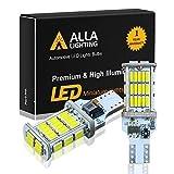 Alla Lighting 2600lm CANBUS 912 921 LED Back Up Light Bulbs Xtreme Super Bright LED 921 Bulb High Power 4014 48-SMD T15 906 W16W 921 LED Bulbs Back-Up Reverse Lights, 6000K Xenon White (Set of 2)