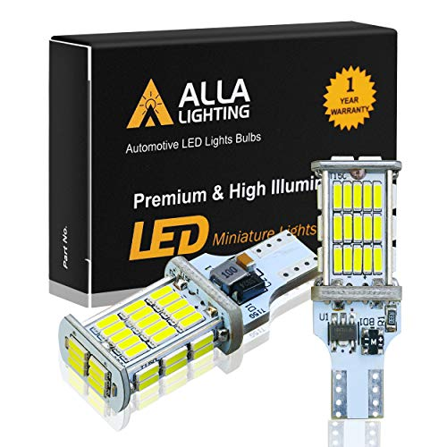 Alla Lighting 2600lm CANBUS 912 921 LED Back Up Light Bulbs Xtreme Super Bright LED 921 Bulb High Power 4014 48-SMD T15 906 W16W 921 LED Bulbs Back-Up Reverse Lights, 6000K Xenon White (Set of 2)