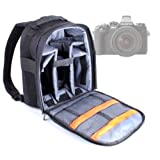 DURAGADGET High Quality Water Resistant Nylon Rucksack with Adjustable Padded Interior & Rain Cover for Olympus OM-DE-M1