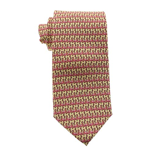 (Tommy Bahama Mens Standing Flamingo Silk Pattern Neck Tie Yellow O/S )