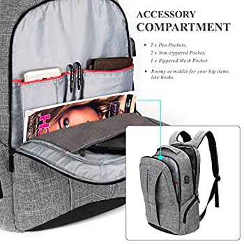 """17 Inch Laptop Backpack with USB Charging Port Anti-theft Pockets,Stylish Travel Business Backpack for Women / Men,Slim College Daypack School Bag Computer Backpack for Laptops Up to 17.3"""",Gray"""