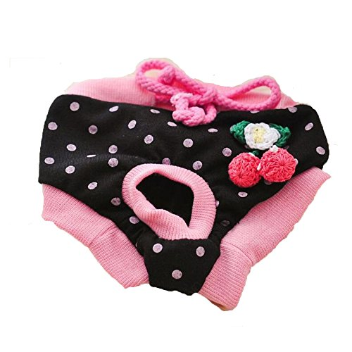 HYL World Pet Washable Dog Diapers Doggie Pupply Sanitary Pantie-Black (Pet Diaper Panty)