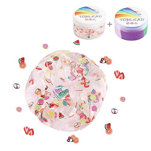 2Pcs Magic Crystal Fruit Slime+Fluffy Slime, Children's Gift Floam Slime Stress Relief Toy Soft Rubber for Kids, Students, Birthday, Party, Year Gift Arts Crafts School Supplies, Gift Box -