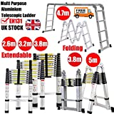 2.6m Telescopic Ladder Heavy Duty Aluminium Ladder Extension Anti-Slip Steps Max Load 150kg(330lb) Easy Carry for Indoor Outdoor DIY Tools Safety Locking High Quality Stable