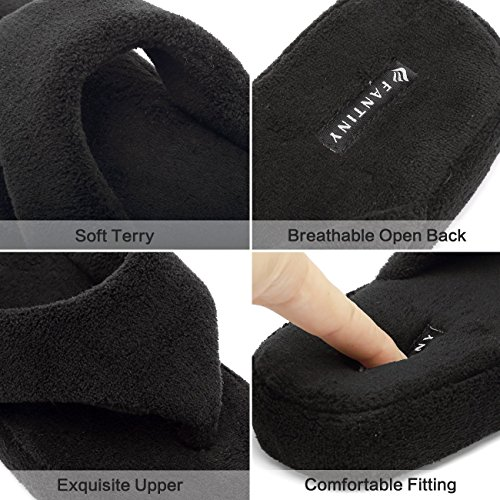 Black 41 Flip Slippers Spa House U218WMT003 Thong Shoes EQUICK Flops Support 40 Arch Shoes Women Terry Z0xOtwgn