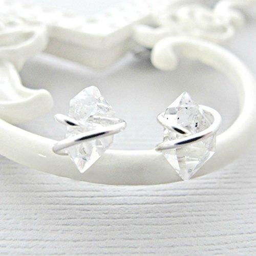 Rough Cut Diamond - Sterling Silver Earrings, Herkimer Diamond Earrings Studs, Sterling Silver Post, Rough Diamond Earrings, Crystal Earrings, Quartz Studs, Diamond