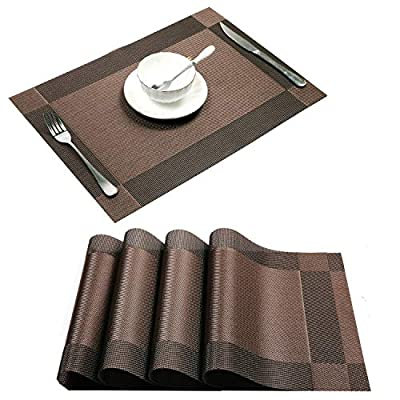 "U'Artlines Placemat, Crossweave Woven Vinyl Non-Slip Insulation Placemat Washable Table Mats (Brown, 4pcs placemats) - Material:PVC,Size in:18""X12""(45cmX30cm),Set of 4, choose the color and set you need. Simple, but exquisite design, Eco-friendly PVC materials. Great colors, Prefect additions for your dinner table. Washable,non-fading,non-stain,Not mildew,Wipe Clean,wearproof,dries very quickly. - placemats, kitchen-dining-room-table-linens, kitchen-dining-room - 51W4wo2RxXL. SS400  -"