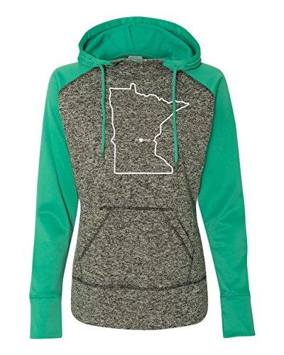Orange Arrow Womens Minnesota Home Jacket (W, M, CBEmrld) - MN Colorblock Sweatshirt by Hometown -
