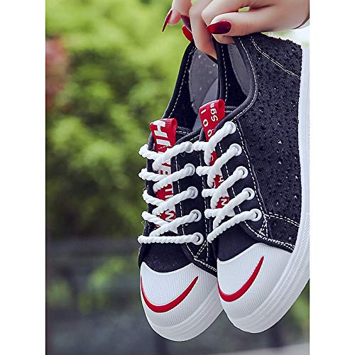 Flat Spring Sneakers Zapatos Negro Canvas Black Blanco Rojo ZHZNVX de Comfort Mujer Heel xq0BwIRw