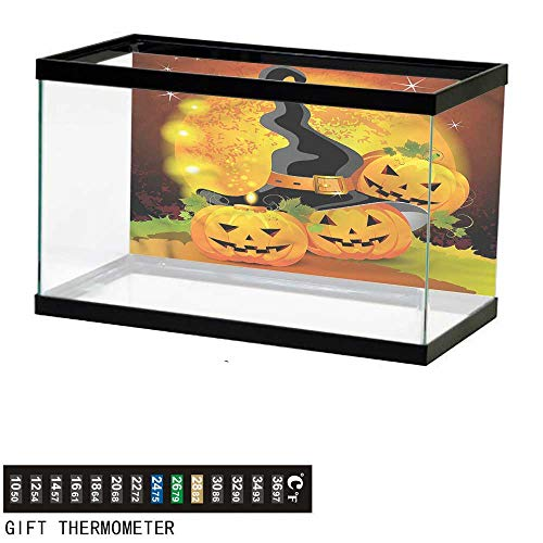 bybyhome Fish Tank Backdrop Halloween,Witch Hat Spooky Pumpkins,Aquarium Background,24