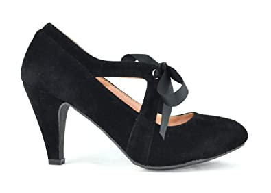 cacca1318846 Chase & Chloe Kimmy-62 Women's Vintage Bow Mary Jane High Heel Pump (5.5