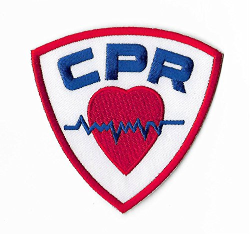 CPR Patch (3.5 Inch) DIY Embroidered Iron or Sew on Badge Applique Paramedic Ambulance Costume Bag First Aid AED EMC -