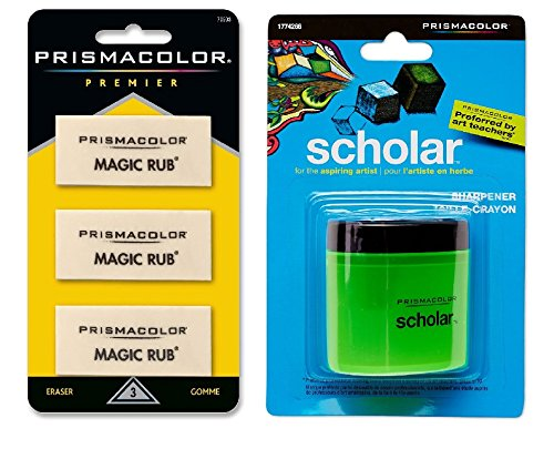 Prismacolor Scholar Colored Pencil Sharpener (1774266) with Sanford Prismacolor Magic Eraser (70503) by Prismacolor