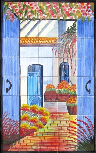 Decorative Ceramic Tiles: Hand Painted Mosaic Murals Kitchen Bathroom Pool Patio Wall Art 48 Inch x 30 Inch ()